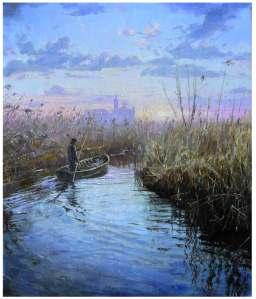 Barcaiolo sul Mincio 2013, olio su tela, cm 65x55