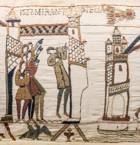 Tapisserie de Bayeux - Scène 32 : des hommes observent la comète de Halley